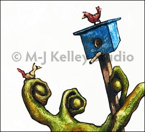 Bird House (gouache on board) by M-J Kelley
