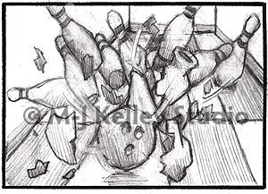 Bowling pins (graphite) by M-J Kelley