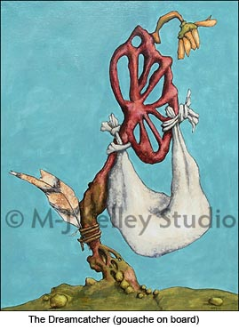 Dream Catcher (gouache on board) by M-J Kelley