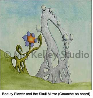 Beauty Flower and the Skull Mirror (gouache on board) by M-J Kelley