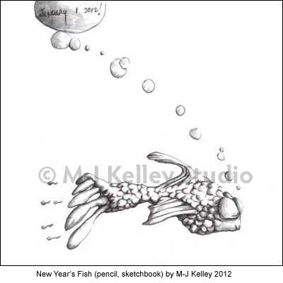 New Year's Fish (pencil, sketchbook) by M-J Kelley