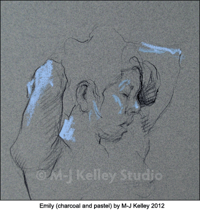 Figure drawing of Emily (charcoal and pastel) by M-J Kelley 2012