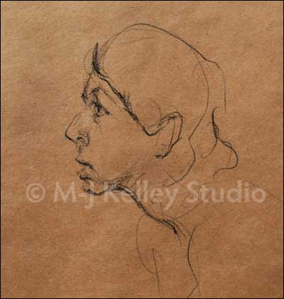 Image of M-J Kelley's quick sketch: Portrait of Emily (charcoal on kraft paper) 2012