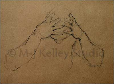 Head in Hands (charcoal) by M-J Kelley 2013