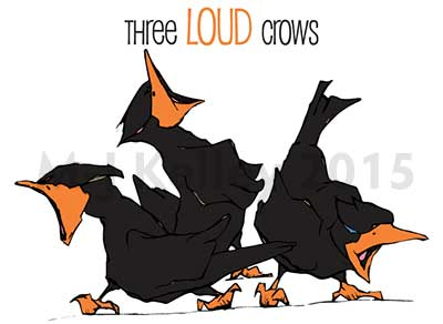 Final logo for Three Loud Crows web services business – M-J Kelley (digital artwork 2014)
