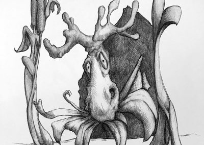 M-J Kelley's drawing of a moose eating. Graphite.