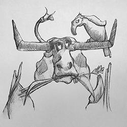 InkTober – Day 14 – Cowbird