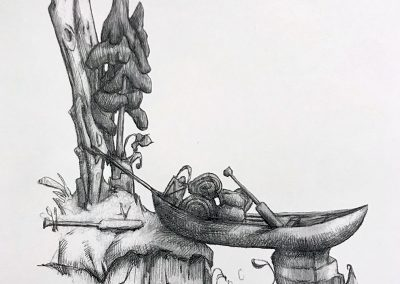 M-J Kelley's drawing of a canoe hoisted up on dry land. Graphite.