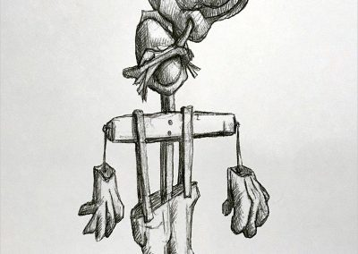 M-J Kelley's drawing of Dorothy the chicken. Graphite.