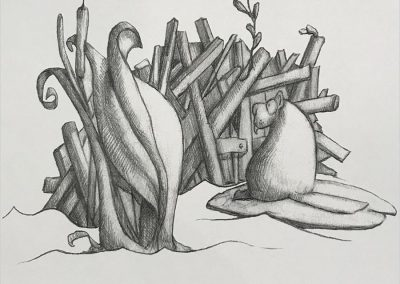 M-J Kelley's drawing of a Beaver wanting a window. Graphite.