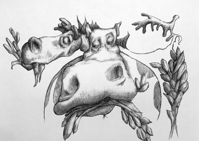 M-J Kelley's drawing of a horse and cow eating. Graphite.