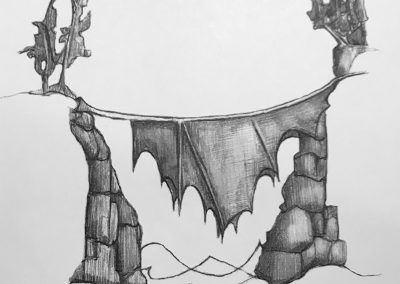 M-J Kelley's drawing of a bridge that is a Maple leaf. Graphite.