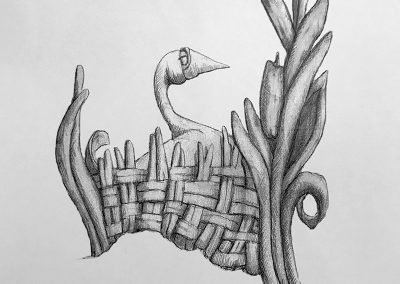 M-J Kelley's drawing of a content goose. Graphite.