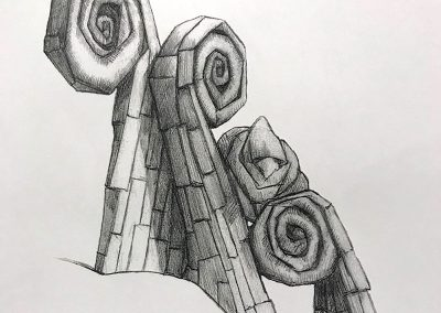M-J Kelley's drawing of a homeless bird on fiddleheads. Graphite