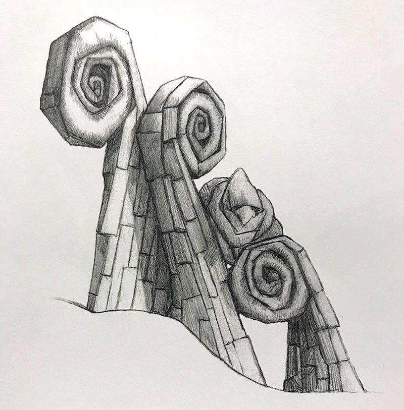 M-J Kelley Studio - InkTober 2019 - Day 8 - Fiddleheads
