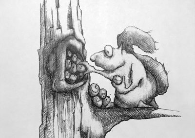 M-J Kelley's drawing of a squirrel trying to stuff acorns into a tree hollow. Graphite.