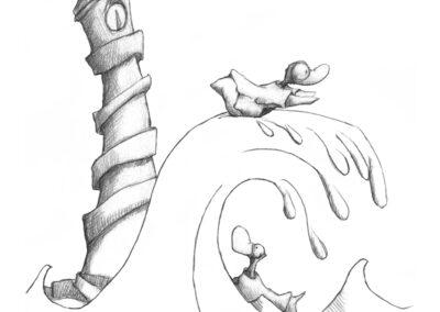 M-J Kelley's drawing of two black diamond ducks surfing. Graphite.