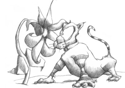 M-J Kelley's drawing of a plant and a cat staring at each other. Graphite.