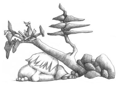 M-J Kelley's drawing of a man pinned down by a tree. Graphite