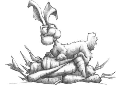 M-J Kelley's drawing of a rabbit sitting on a bunch of carrots. Graphite.