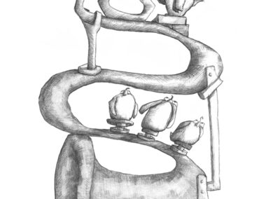 M-J Kelley's drawing of four birds and a trumpet. Graphite.