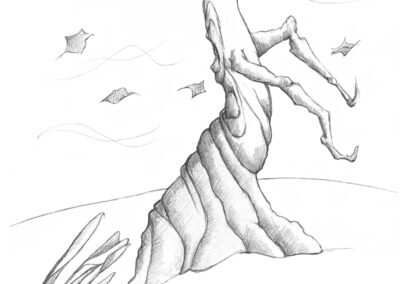M-J Kelley's drawing of a windy day with a tree screaming. Graphite.