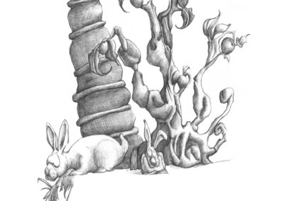 M-J Kelley's drawing of low hanging fruit with two rabbits. Graphite.
