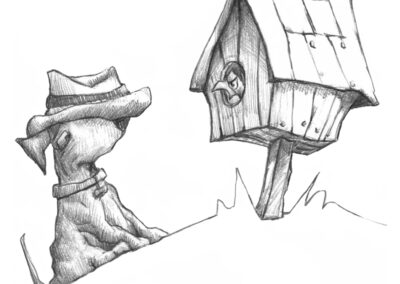 M-J Kelley's drawing of Maggie the dog listening to an angry bird. Graphite.