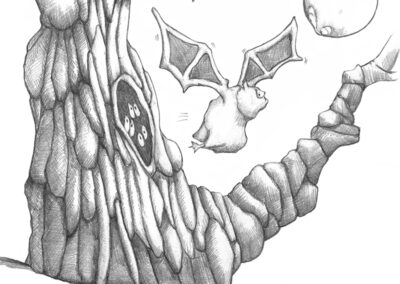 M-J Kelley's drawing of a bat flying out of a hollow on hallowe'en. Graphite.