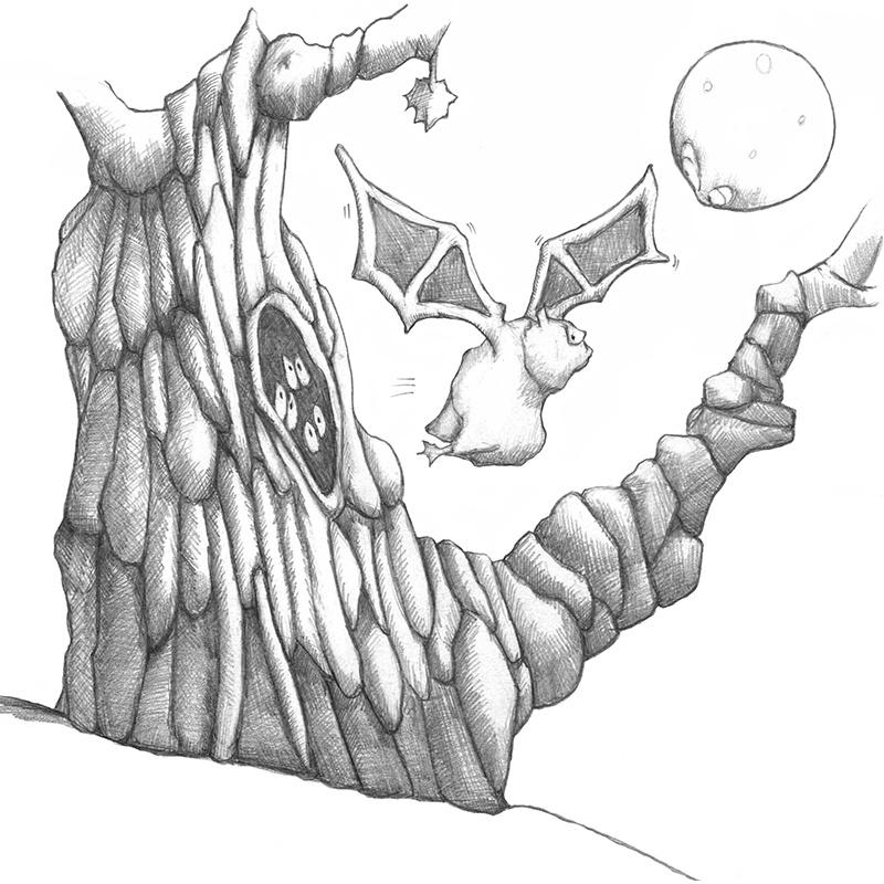 M-J Kelley - InkTober 2020 - Day 31 - Blue Moon of Spooky Hollow