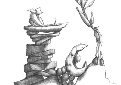 M-J Kelley's interpretive drawing of Yellowknife, NWT. Graphite.