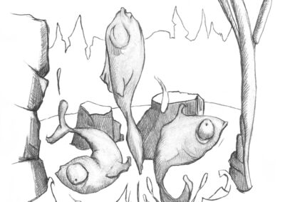 M-J Kelley's drawing of three fish. One jumping straight out of the water. Graphite.