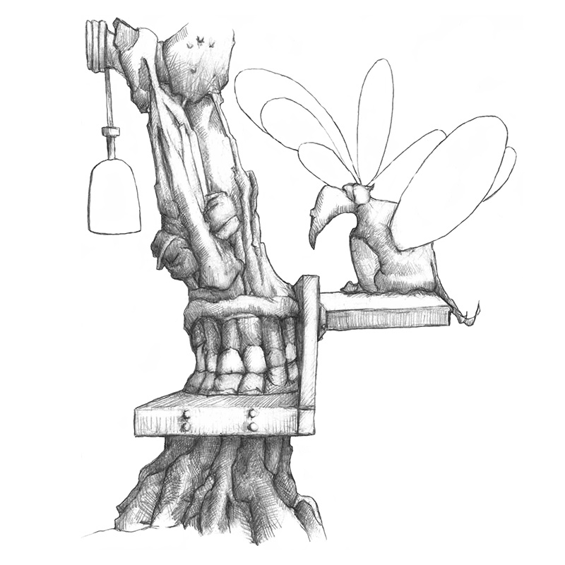 M-J Kelley's drawing of a tree with teeth and a firefly as a friend. Graphite.