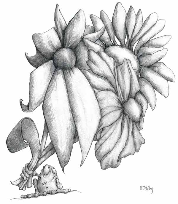 M-J Kelley's cartoon drawing of a frog named Jack with a huge bouquet of flowers.
