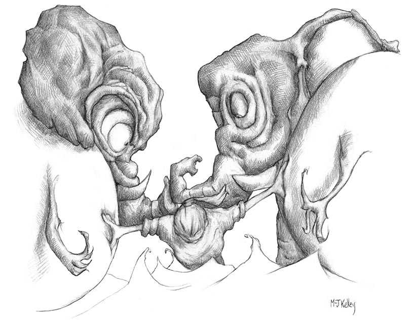 M-J Kelley's drawing My Workload. A self-portrait with Elephants Beast and Burden.