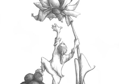 M-J Kelley's drawing, a self-portrait of her climbing on loose rocks to reach a flower.