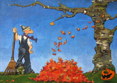 M-J Kelley's painting of man racking a pile of red leaves with a laughing pumpkin close by. Surreal and comical. Gouache on canvas board.