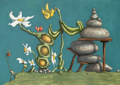 M-J Kelley's painting of Balance. A surreal landscape. Gouache on canvas board.