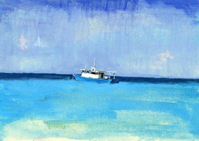 M-J Kelley's painting of a blue boat. Gouche on canvas board.
