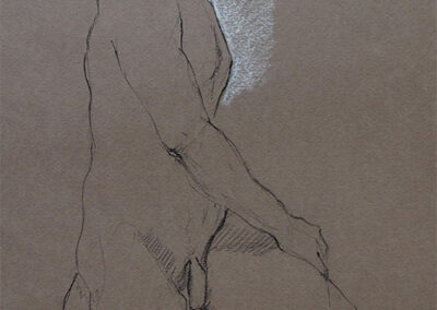 M-J Kelley's figure drawing of Brad sitting on stool. Charcoal and pastel on brown canson paper.