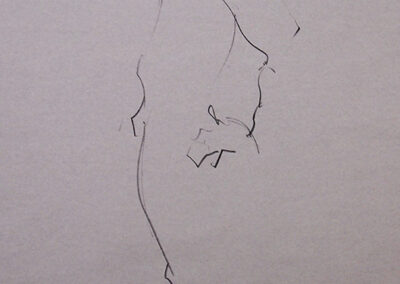 M-J Kelley's 1 minute drawing of Brad standing. Charcoal on smooth newsprint.
