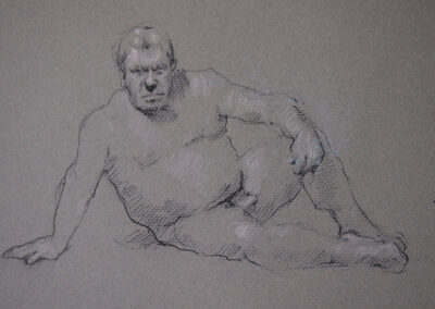 M-J Kelley's figure drawing of Dwayne sitting on floor. Charcoal and pastel on textured grey canson paper.