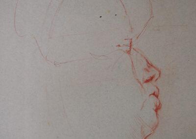 M-J Kelley's profile portrait drawing of Karla. Orange conte crayon on smooth newsprint.