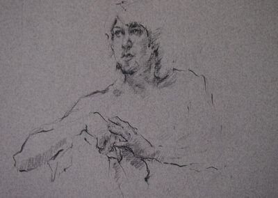 M-J Kelley's figure drawing of Robert with clasped hands. Charcoal on grey canson paper.