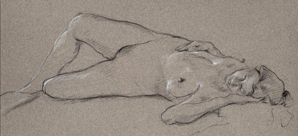 M-J Kelley's figure drawing of Vivian resting on floor. Charcoal and pastel on smooth grey canson paper.