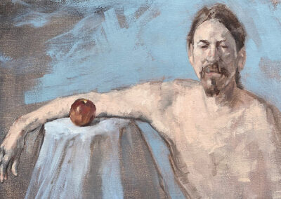 M-J Kelley's painting of a man with an apple. Oil on canvas.