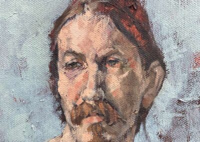 M-J Kelley's painting of a man with a goatee. Oil on Canvas.