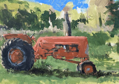 M-J Kelley's quick painting of a red tractor. Oil on Canvas.