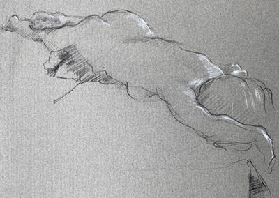 M-J Kelley's drawing of a woman in repose. Dynamic foreshortening. Charcoal on grey Canson paper. Drawn July 13 2006.