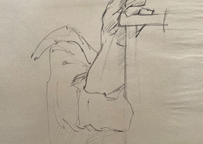 M-J Kelley's drawing of Kate's hand. Charcoal on newsprint.